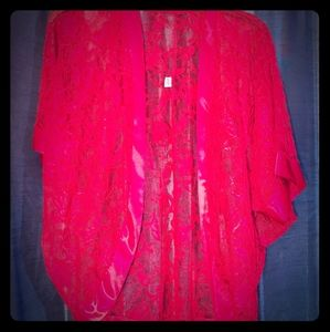 Vtg Red Lace Robe Jacket Med